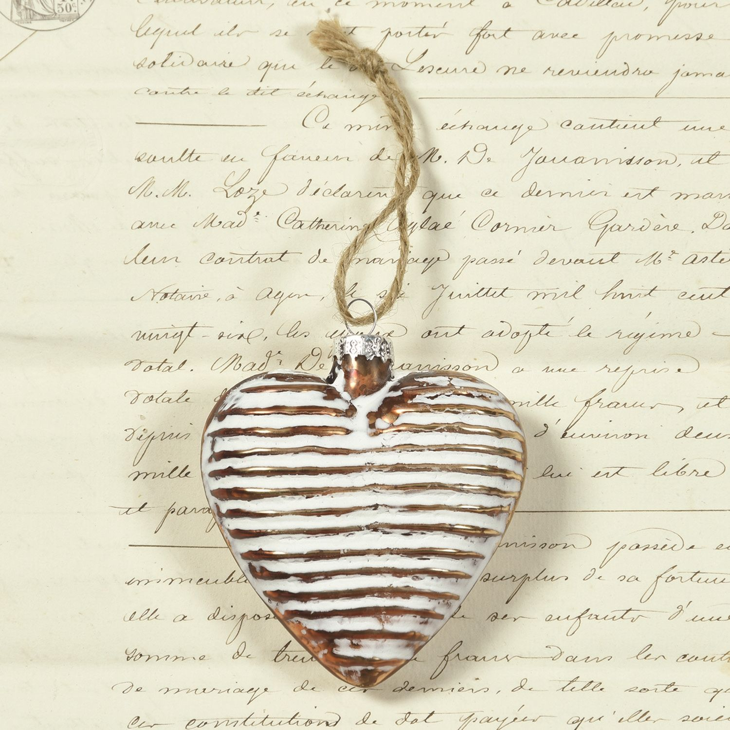 Glass heart christmas ornaments - Copper Ribbed Glass Heart Ornament Set Of 3 By Homart Seven Colonial