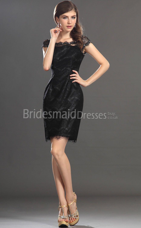 9daf7b6f2a99 Black Lace Sheath/Column Off The Shoulder Short/Mini Sleeveless Black  Bridesmaid Dresses(UKBD03-358)