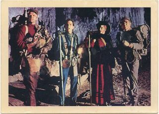 """Carlsbad Caverns, New Mexico - Promotional lobby card for """"Journey to the Center of the Earth,"""" 1959."""
