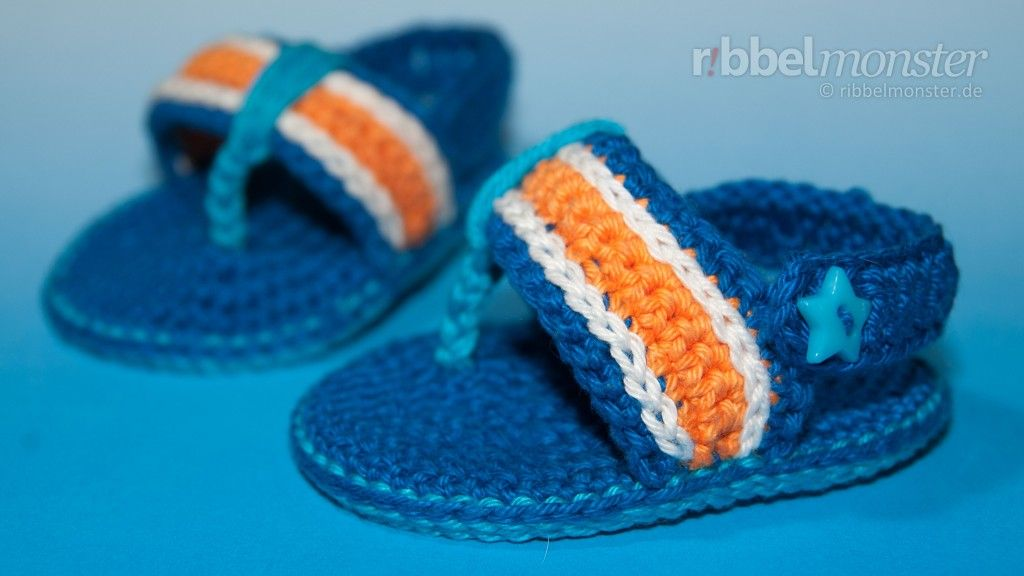 Babyschuhe häkeln: Flip Flops \