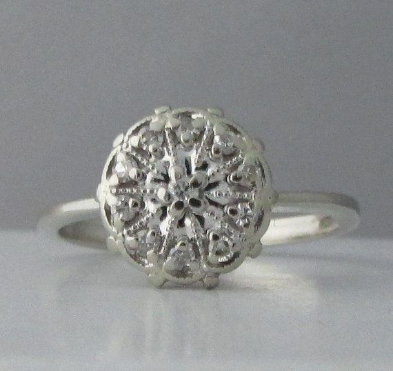 Vintage 10k White Gold Diamond Cluster Ring  A Pretty by Ringtique
