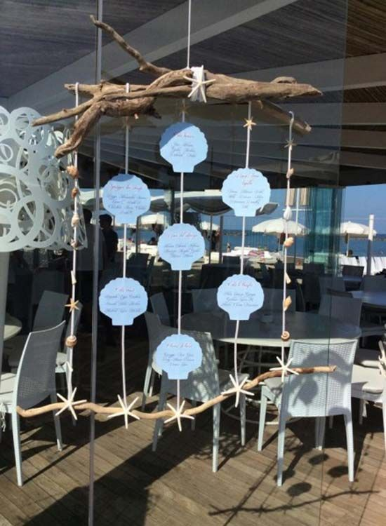 Matrimonio Tema Once Upon A Time : Tableau a tema mare con conchiglie appese once upon