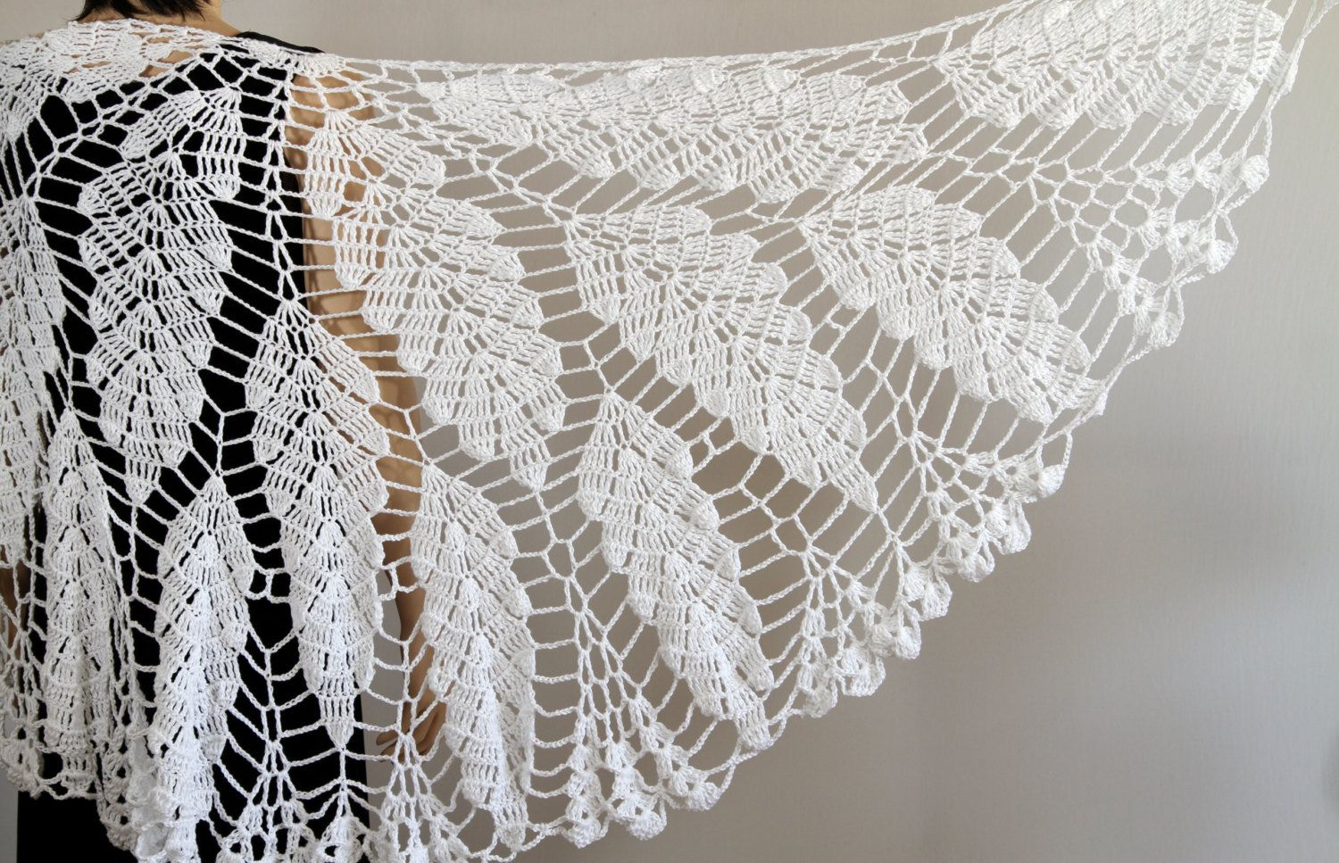 White shawl Lace Crochet shawl Wedding shawl Wraps shawls Large ...