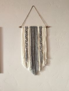 Modern Yarn Wall Hanging Gray And Ivory By BraidedLovelies On Etsy  Https://www.etsy.com/listing/455134286/modern Yarn Wall Hanging  Gray And Ivory