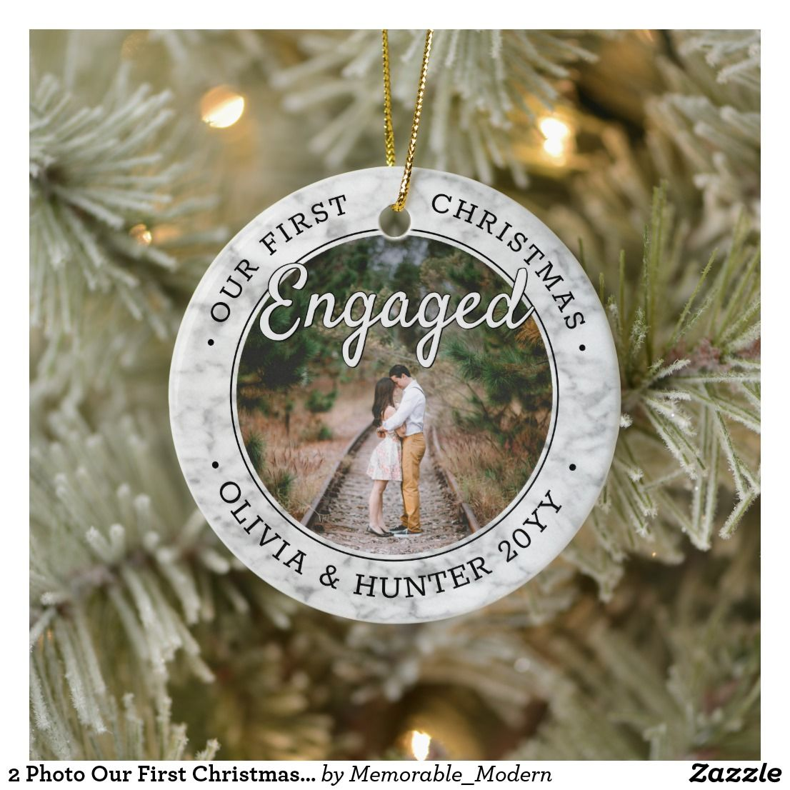 2 Photo Our First Christmas Engaged Faux Marble Ceramic Ornament Zazzle Com Photo Christmas Ornaments First Christmas Hand Lettered Christmas