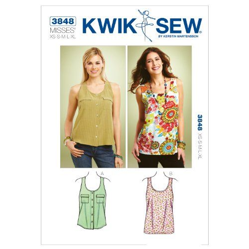 Kwik Sew K3848 Tank Tops Sewing Pattern, Size XS-S-M-L-XL KWIK-SEW PATTERNS http://www.amazon.com/dp/B00889S0PW/ref=cm_sw_r_pi_dp_powRvb03R3230