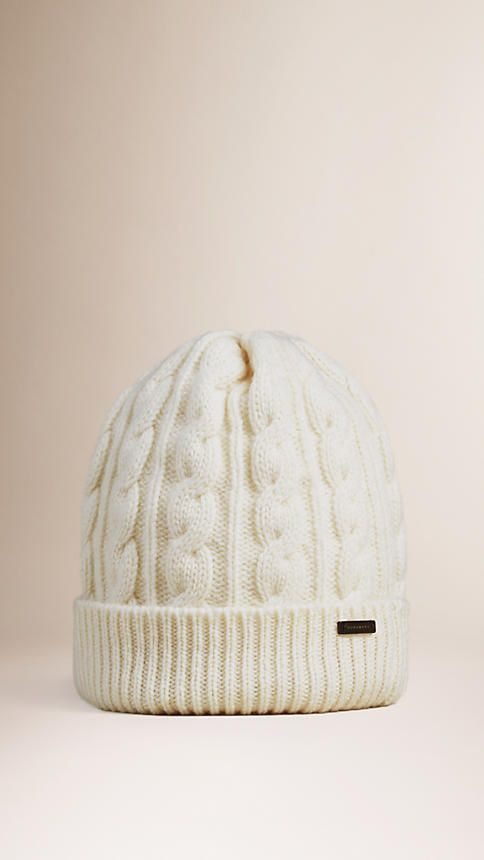 Burberry Cable-knit beanie in a wool cashmere blend Ribbed-knit turn-up  hem. Discover more accessories at Burberry.com 9f49d9c872