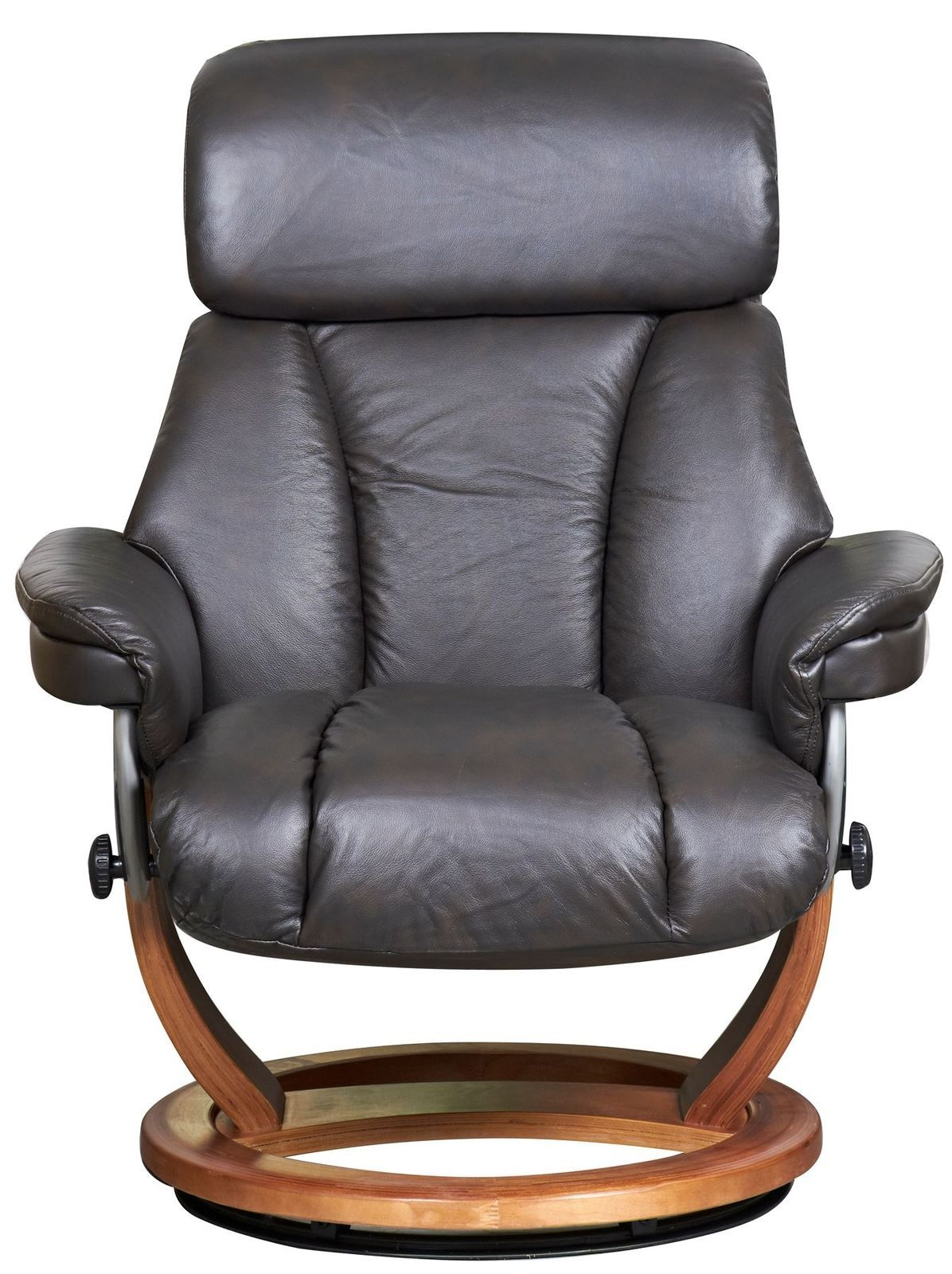 The Mars Genuine Leather Recliner & Footstool in Chocolate