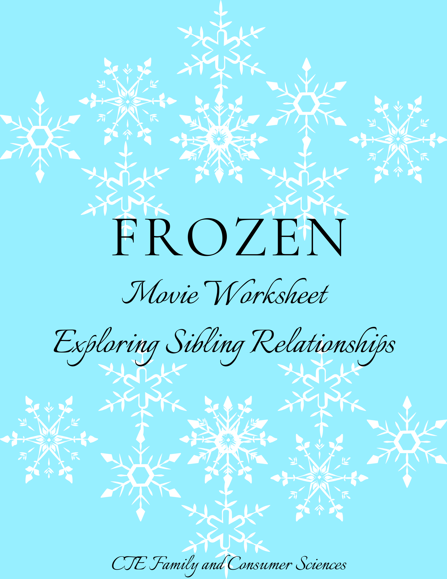 Frozen Movie Worksheet Exploring Sibling Relationship
