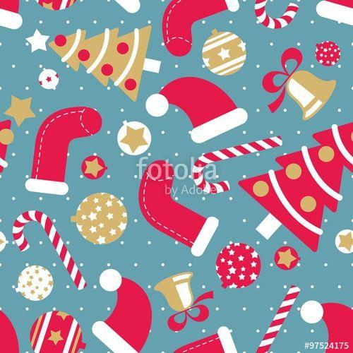 Vetor: Cute Christmas Seamless Vector Pattern