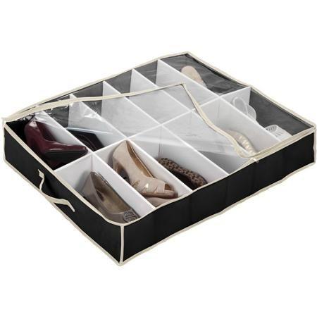 Simplify Under The Bed Shoe Box 12 Pair Capacity Walmart Com Under Bed Shoe Storage Shoe Rack Under Bed Under Bed Organization