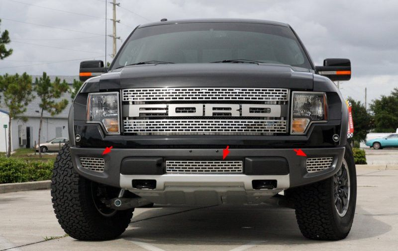 2010 2014 ford f 150 raptor brushed stainless lower grille kit 3 pc