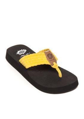 95e380791f5a7 Yellow Box Yellow Soleil Woven Stretch Platform Flip Flop Sandalss