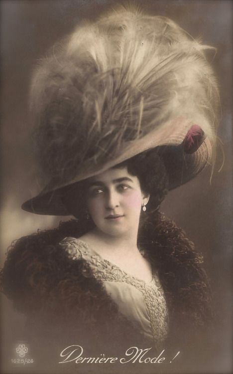 fawnvelveteen:  Belle Époque Haute Couture High Fashion Lady Portrait with Luxurious Feathers Hat Original Rare 1900s French Photo Postcard Postmarked 1910. Edited in France.
