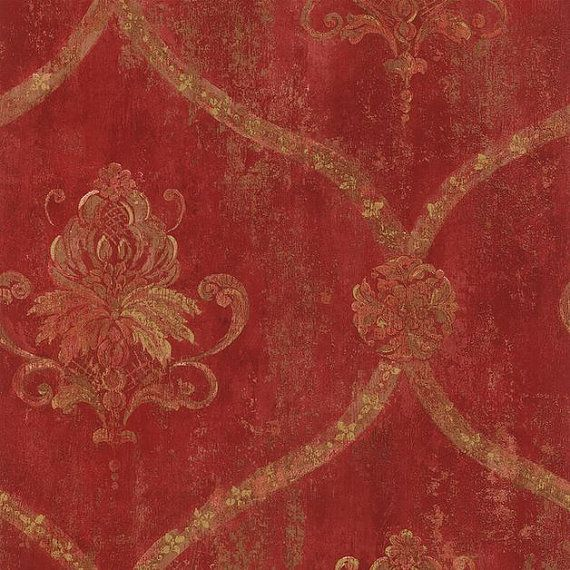 Gold Lattice and Floral Damask on Distressed Red, Aged