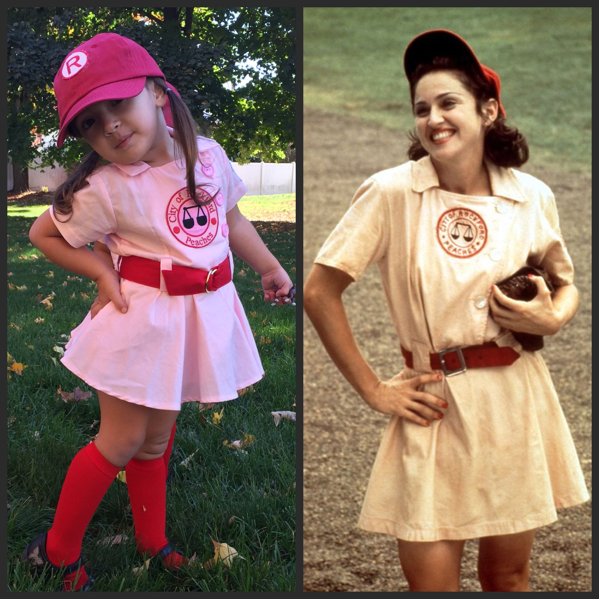 My Charley modeling her Rockford Peaches costumes and posing right like All the Way Mae. Hahaha! #rockfordpeaches #aleagueoftheirown #halloween  sc 1 st  Pinterest & My Charley modeling her Rockford Peaches costumes and posing right ...