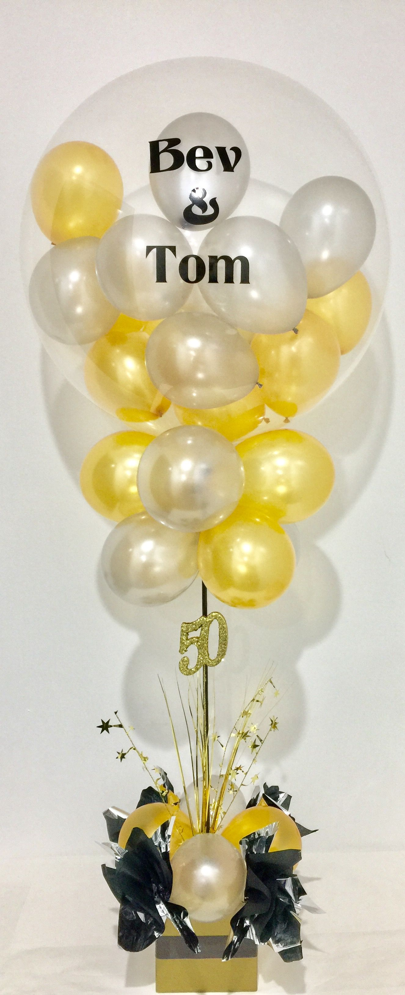50th wedding anniversary balloon decoration in elegant gold and ...