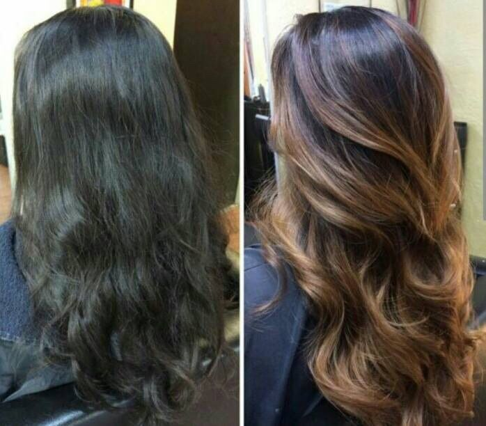 Balayage/ombré before after dark hair brunette