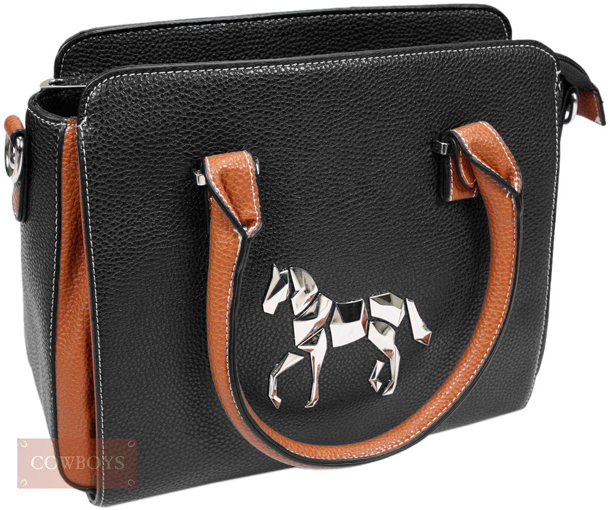 4bb471a0f Bolsa Feminina em Couro Love Horse Bolsa Feminina, importada, Couro  ecológico na cor preta