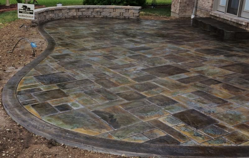 stamped concrete patio with fire pit cost. Stylish Stamped Concrete Patio Steps On Random Pattern Floor Tiles Also A Set Of Vintage Wood | House Exterior Pinterest Steps, With Fire Pit Cost 0