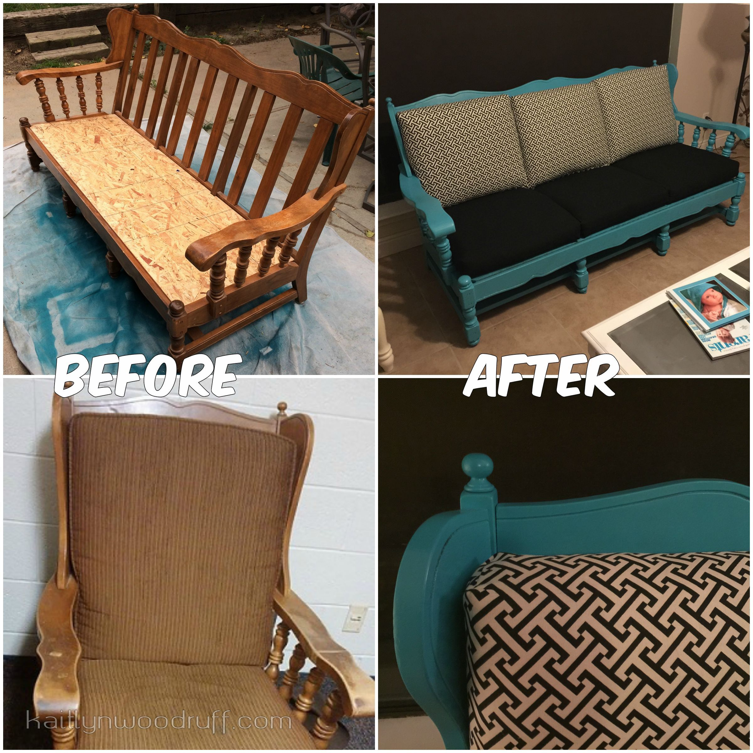 those old ugly wooden couches transformed Couches