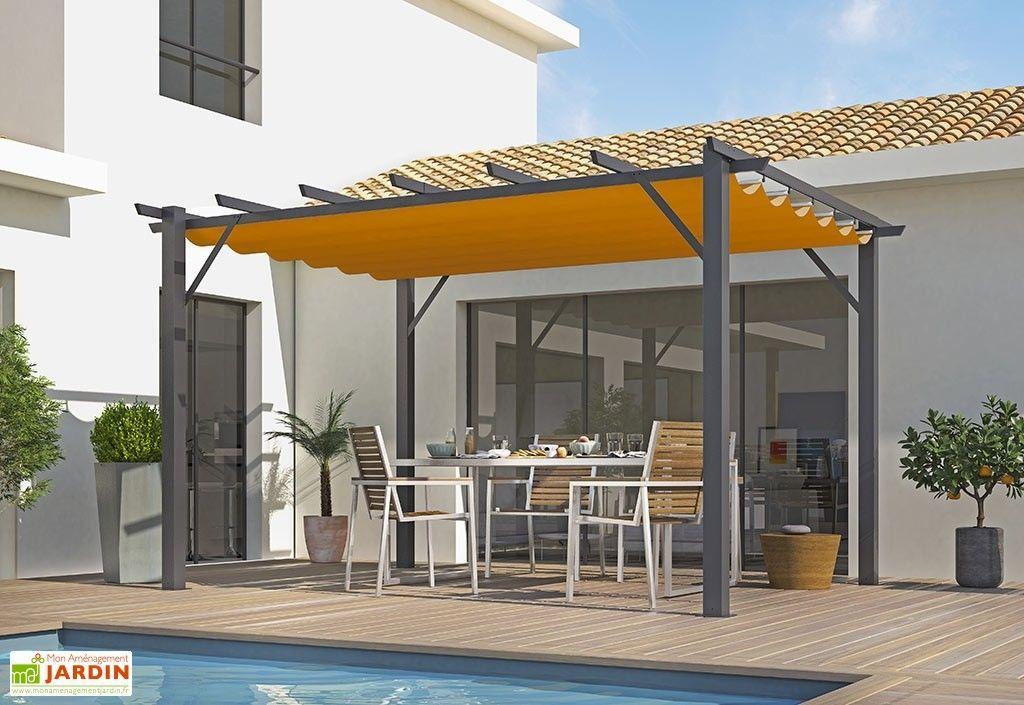 Tonnelle Autoportante En Aluminium Gris Anthracite Et Toile Polyester Orange In 2020 Pergola Pergola With Roof Metal Pergola