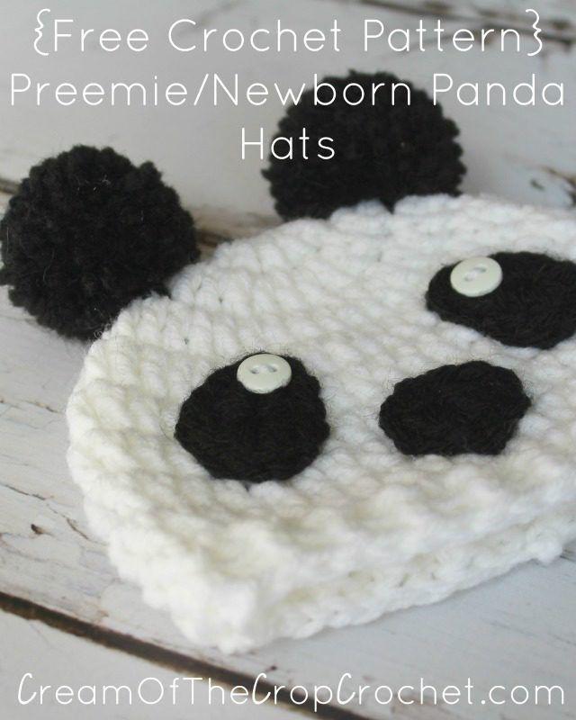 Preemie/Newborn Panda Hats Pattern | Crochet preemie hats | Pinterest