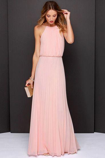 vestido largo halter sin mangas-rosado   moda   pinterest   vestido