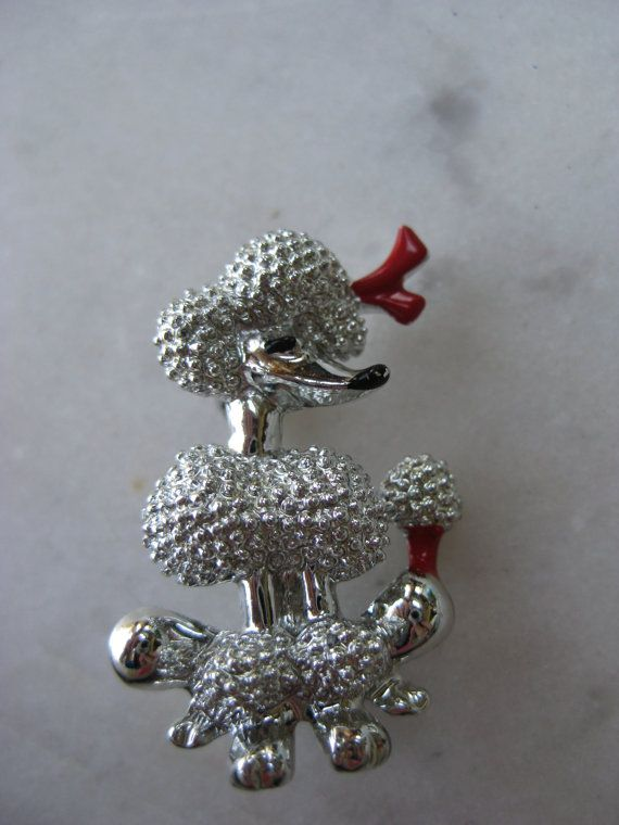 Vintage Poodle with Red Bow Pin by VintageByThePound on Etsy, $13.00