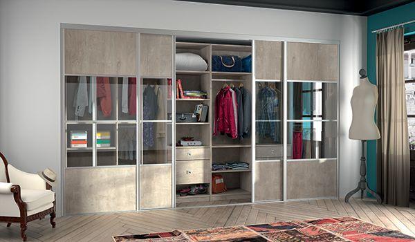 KAZED - dressing en I Chêne cigare brut avec portes coulissantes - construire un placard mural avec portes coulissantes