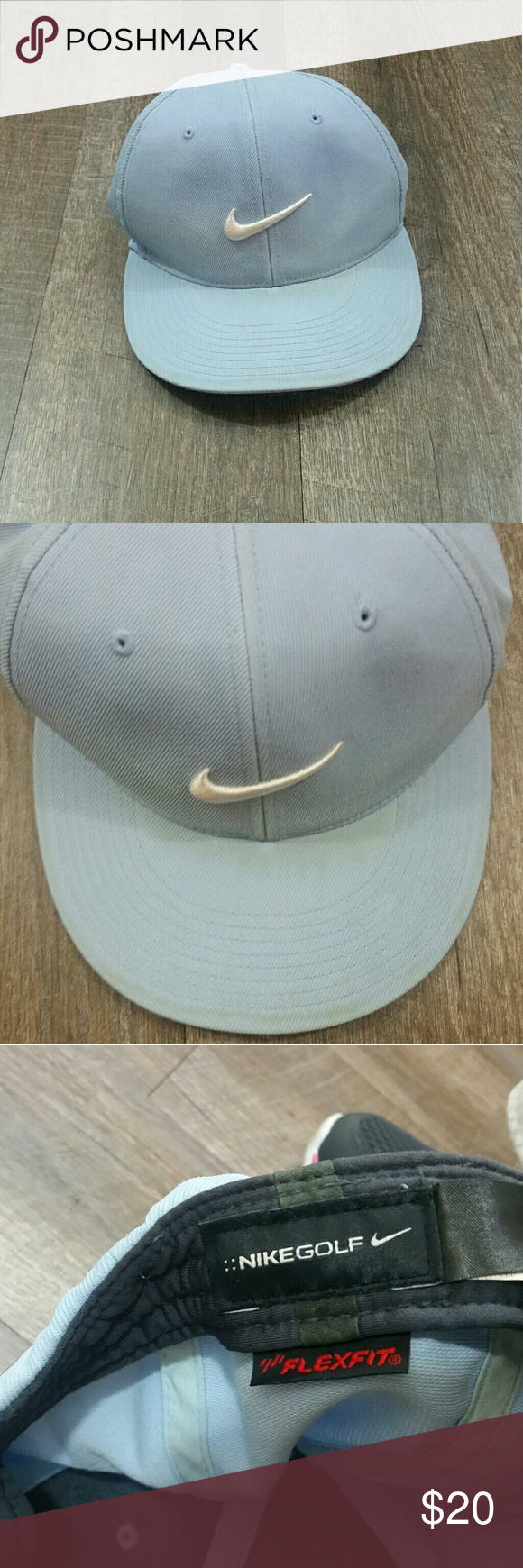f249dc25022 Nike Golf Hat Flex Fit M L Nike Golf Hat Flex Fit M L light blue and white.  This is in pre owned condition and has been washed.