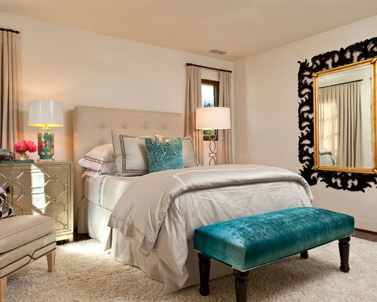 Awesome Bedroom, Luxurious Turquoise Bed Sheets With White Fur Carpet And Blue  Pouffe Also Beige Curtains