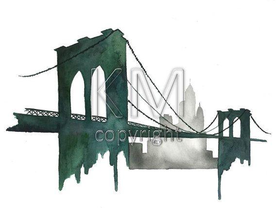 Original watercolor painting of the Brooklyn Bridge