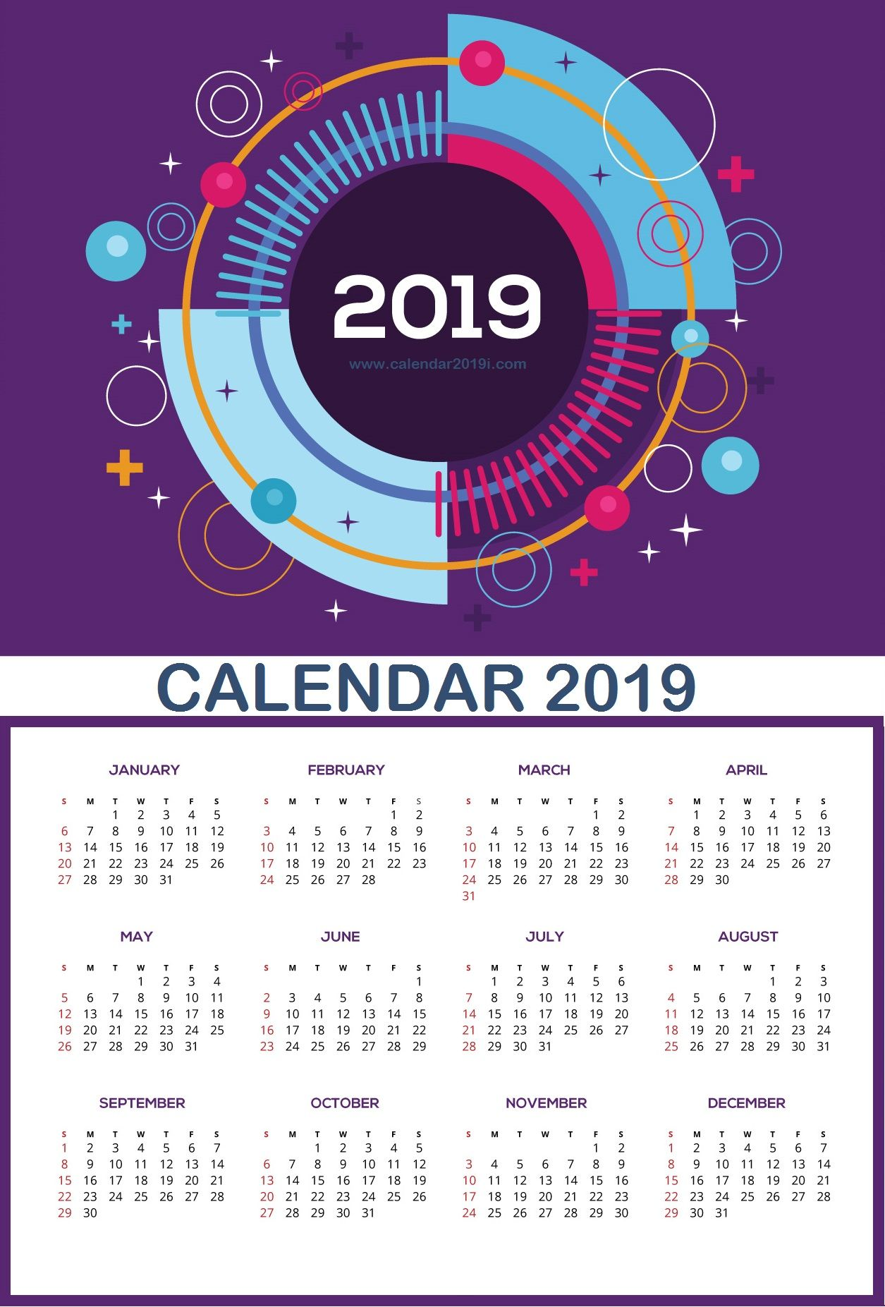 Wall Calendars 2019 Large Wall Calendar 2019 | planner | Wall calendar design, Monthly