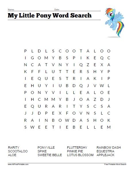 my little pony word search free printable