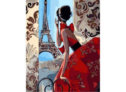 Картина по номерам «Эйфелева башня, красное платье ...