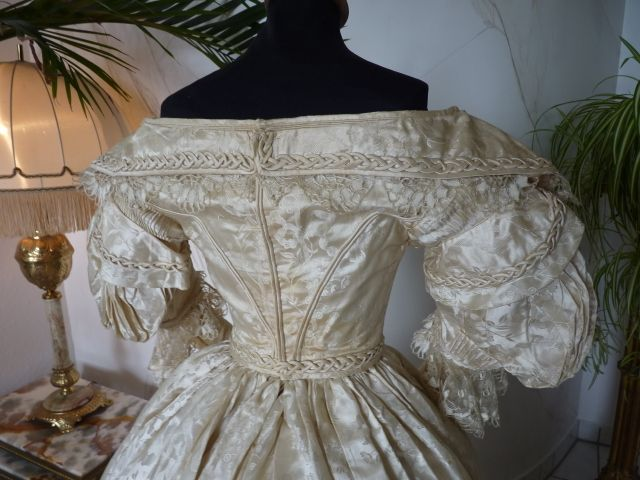 Romantic Period Wedding Gown, Vest and Slippers, ca. 1835