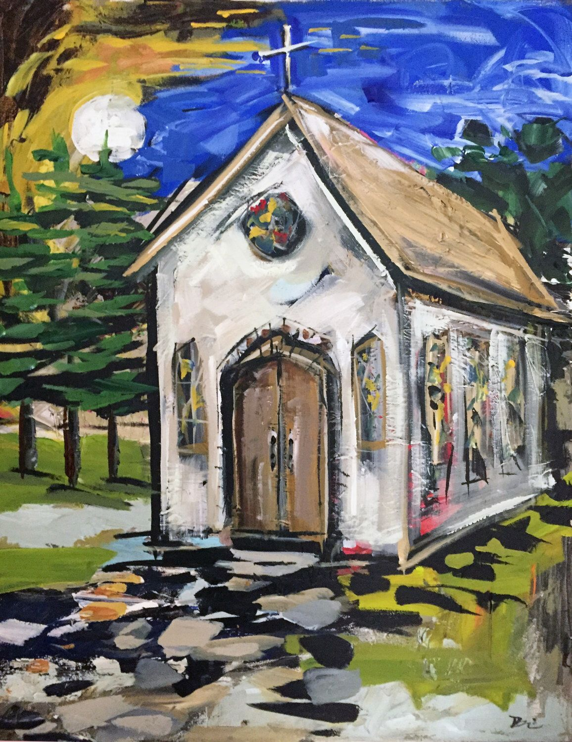 A personal favorite from my Etsy shop https://www.etsy.com/listing/473695980/abstract-church-painting-modern-country