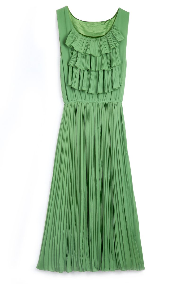 Green Sleeveless Cascading Ruffle Pleated Chiffon Dress