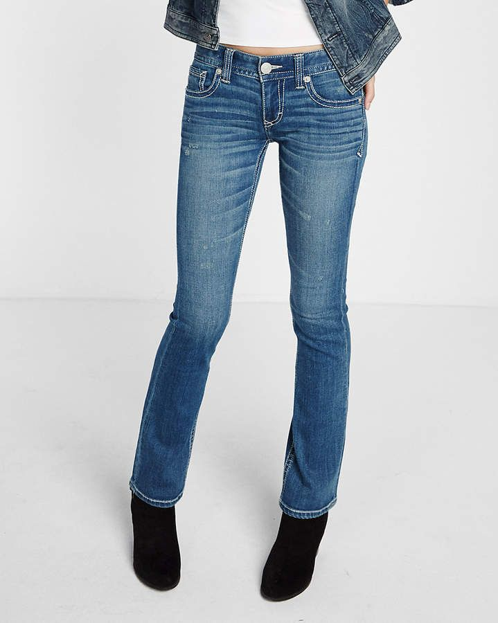 348d3420300 Express Low Rise Thick Stitch Stretch Barely Boot Jeans