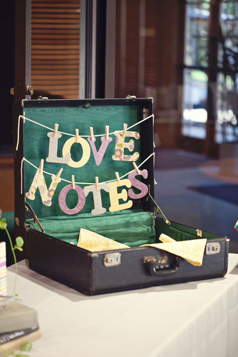 Inside wedding decoration ideas  Loving this clothesline style signage in the suitcase for cards  I