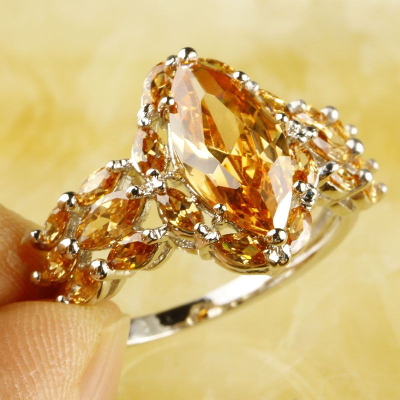 Luxuriant Adjustable Marquise Cut Morganite Gems Silver Jewelry Ring Size T1/2