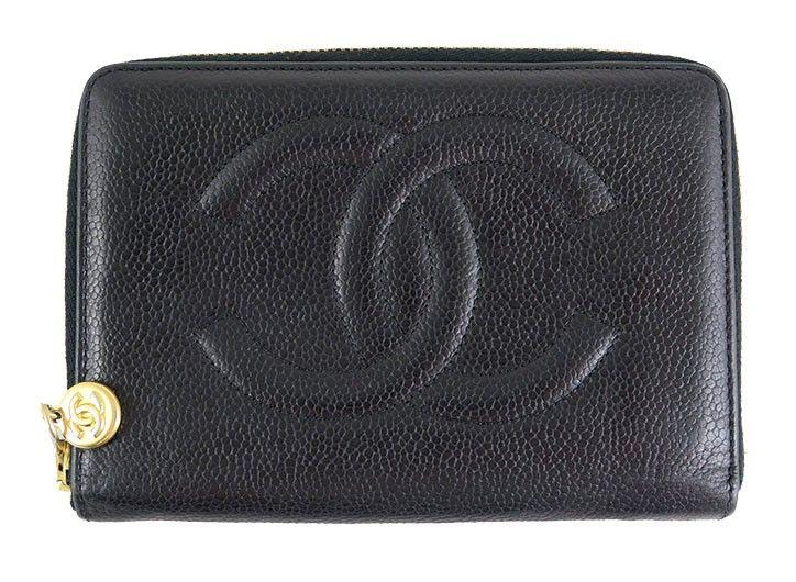 Chanel caviar black cc zippered wallet gold hardware