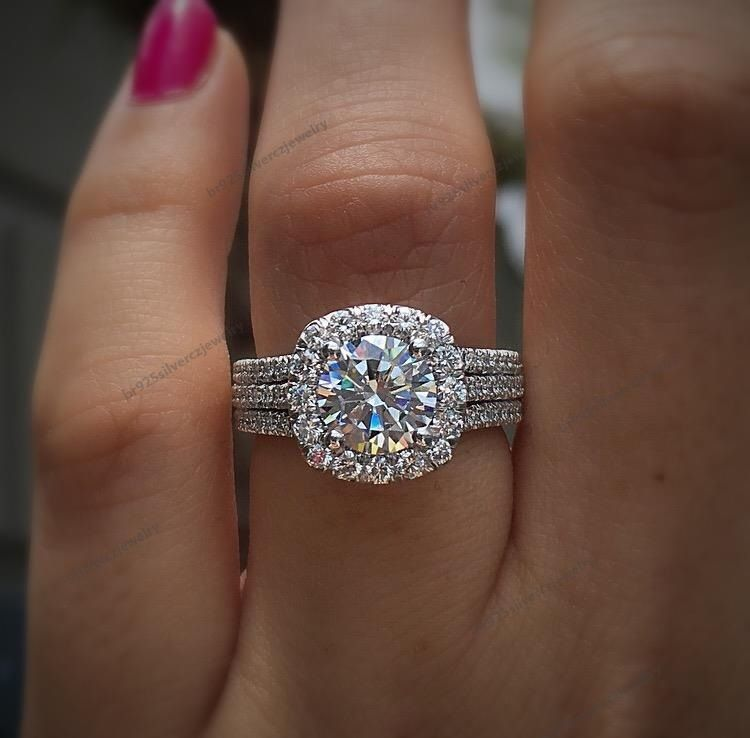 10K White Gold Over Round Cut Diamond Engagement Ring Wedding Band