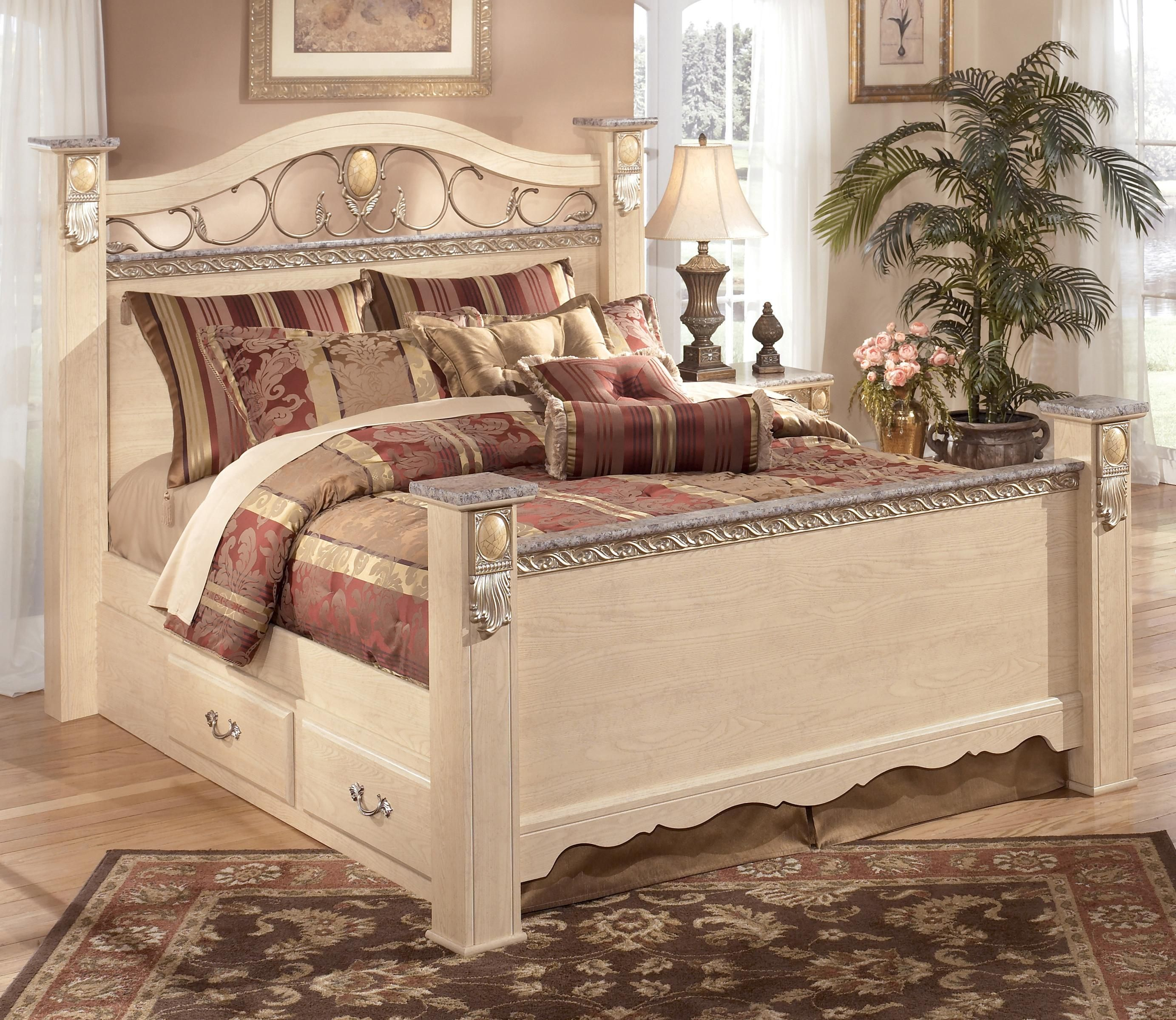 Sanibel King Poster Bed with Underbed Storage by Signature ...
