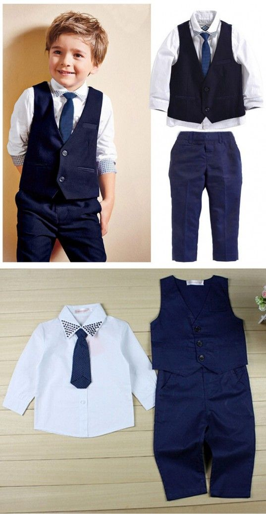 79280b3dd Kids boy clothes sets Formal Suit shirt + pants + vest for Wedding Party  Clothes