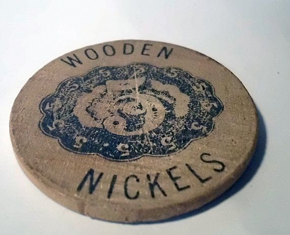 Wooden Nickel Worth Five! Nuismatic Appraiser Advertisement. Temple City Ca. from VintageOnTheRidge, $4.99