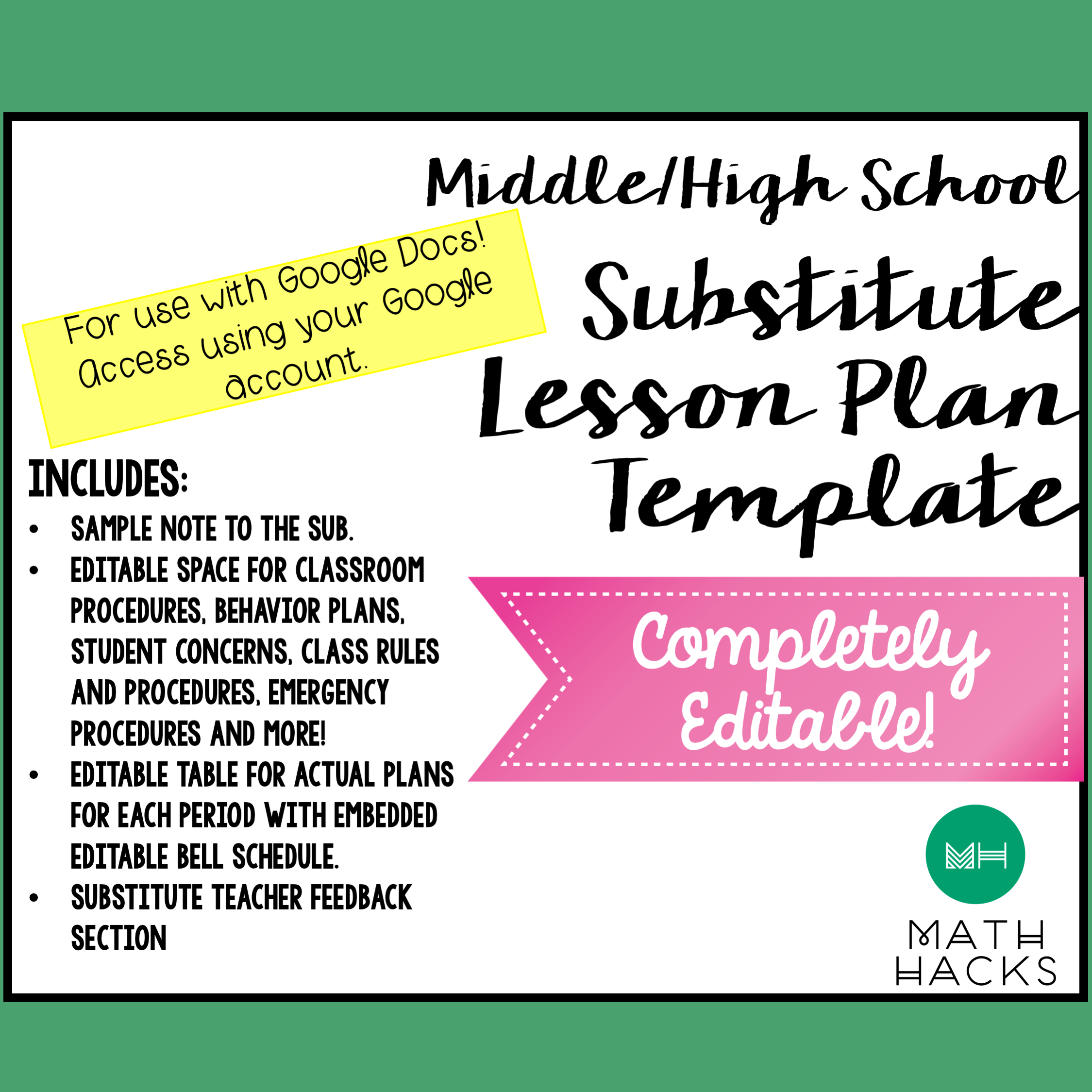 Sub Plan Template For Back To School Perfect For New Teachers My