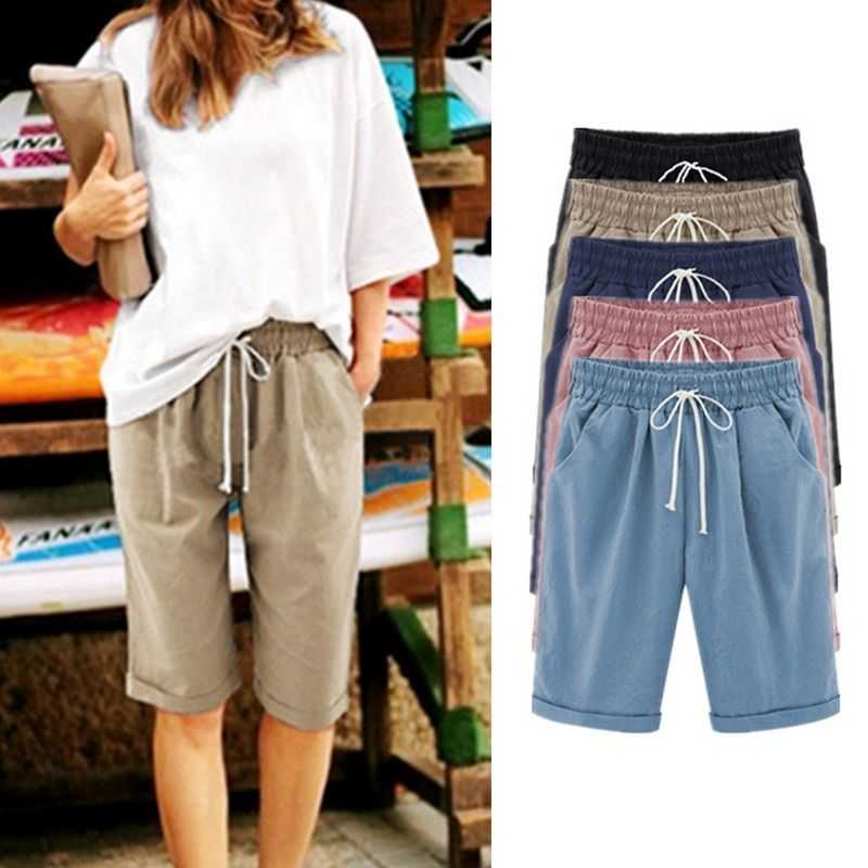 e71554a7304 Summer Loose Straight Knee Length Shorts Comfortable Pocket Women s Shorts  Plus Size Casual Shorts 2018 Fashion New  shorts  skirts  workwear   highwaist ...