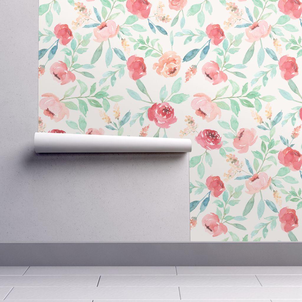 Wallpaper Large Watercolor Floral On Pink Watercolor Wallpaper